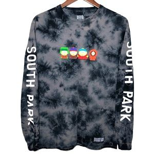 HUF South Park Charcoal Gray Tie Dye Long Sleeve T